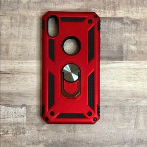 FOR IPHONE XR - Red Phone Case w/Ring Kickstand